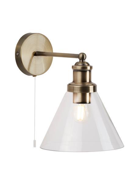 Wandlamp Pyramid met glazen lampenkap, Lampenkap: glas, Frame: vermessingd metaal, Messingkleurig, transparant, 19 x 25 cm
