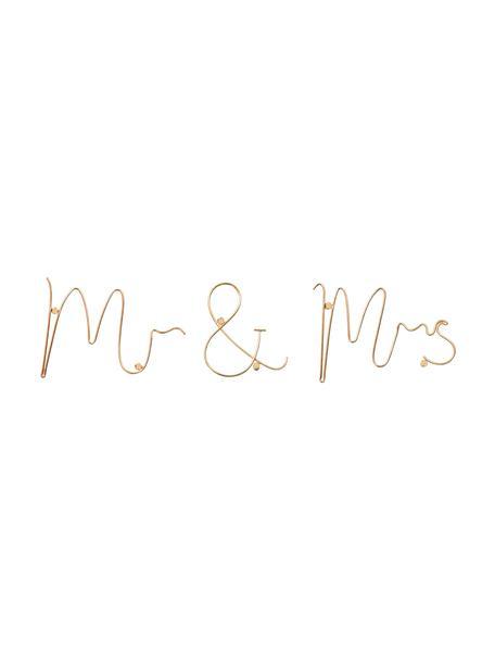 Decoración de pared Mr & Mrs, Aluminio, Dorado, An 35 x Al 12 cm