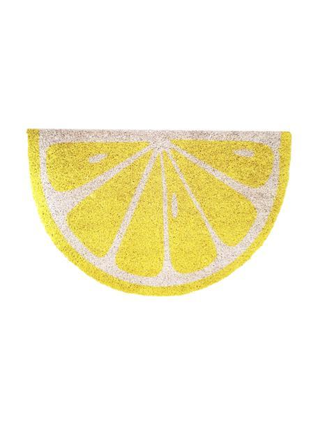 Deurmat Lemon, Bovenzijde: kokosvezels, Onderzijde: PVC, Geel, gebroken wit, 40 x 60 cm