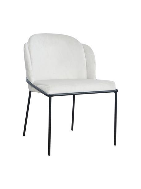 Krzesło tapicerowane z aksamitu Polly, Tapicerka: aksamit (100% poliester), Nogi: metal, Aksamitny kremowy, nogi: czarny, S 57 x G 55 cm
