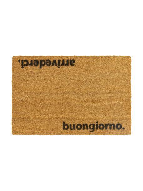 Zerbino antiscivolo in cocco Arrivederci, Fibra di cocco, Zerbino: beige Scritta: nero, Larg. 40 x Lung. 60 cm