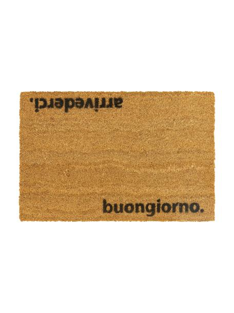 Zerbino antiscivolo in fibra di cocco Arrivederci, Fibra di cocco, Zerbino: beige Scritta: nero, Larg. 40 x Lung. 60 cm