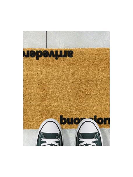Fussmatte Arrivederci, Kokosfaser, Fussmatte: Beige, Schriftzug: Schwarz, 40 x 60 cm