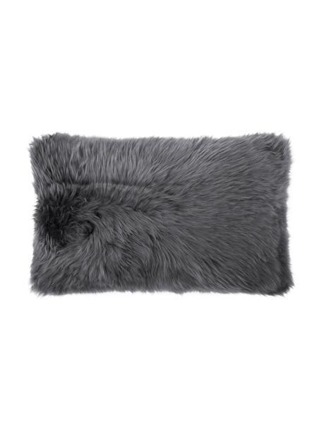 Federa arredo lisica in pelle di pecora grigio scuro Oslo, Retro: lino, Fronte: grigio scuro Retro: grigio scuro, Larg. 30 x Lung. 50 cm