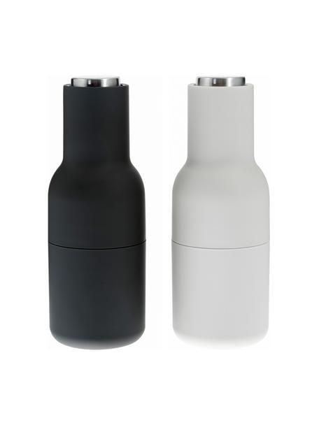 Designer Salz- & Pfeffermühle Bottle Grinder in Anthrazit/Hellgrau mit Edelstahldeckel, Korpus: Kunststoff, Mahlwerk: Keramik, Deckel: Edelstahl, Anthrazit, Hellgrau, Ø 8 x H 21 cm