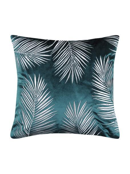 Glinsterende fluwelen kussenhoes Ibarra met palmblad borduurwerk, 100% polyester, Petrolblauw, wit, 45 x 45 cm