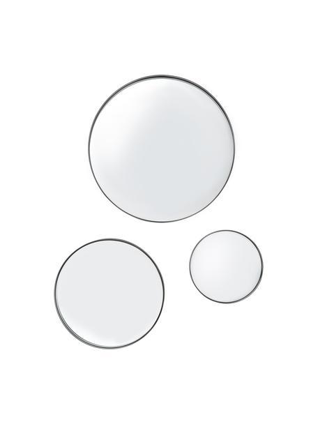 Set de espejos de pared Ivy, Espejo: cristal, Parte trasera: tablero de fibras de dens, Negro, Set de diferentes tamaños