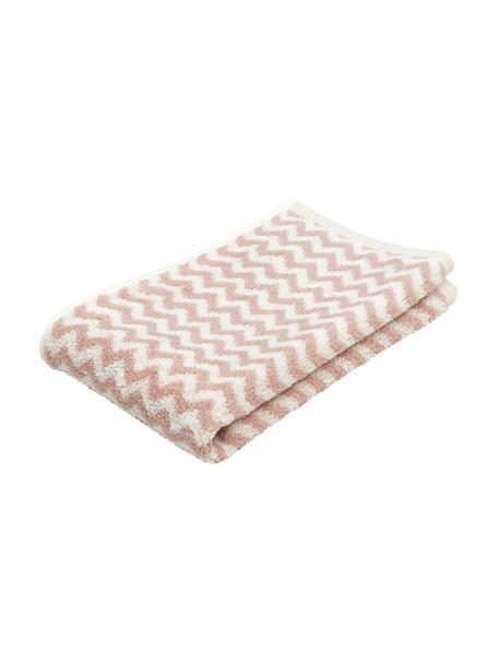 Asciugamano con motivo a zigzag Liv, 100% cotone, qualità media 550g/m², Rosa, bianco crema, Asciugamano per ospiti