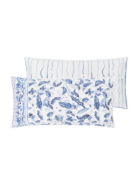 Dwustronna poszewka na poduszkę z satyny bawełnianej Andrea, 2 szt., Niebieski, S 40 x D 80 cm