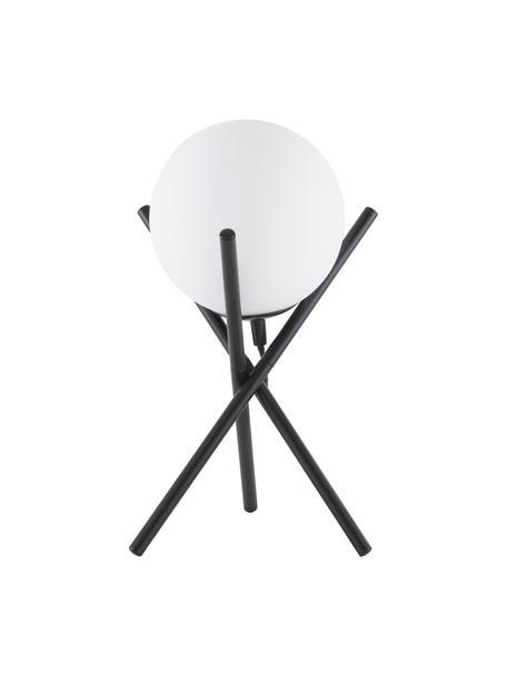 Kleine tripod tafellamp Erik met glazen lampenkap, Lampenkap: glas, Lampvoet: gepoedercoat metaal, Wit, zwart, Ø 15 x H 33 cm