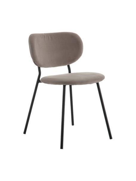 Sedia imbottita in velluto Elyse, Rivestimento: 100% velluto di poliester, Gambe: metallo, Grigio, nero, Larg. 49 x Prof. 46 cm