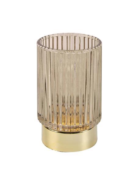 Świecznik LED Ribbed, Szkło, Beżowy, Ø 9 x W 13 cm