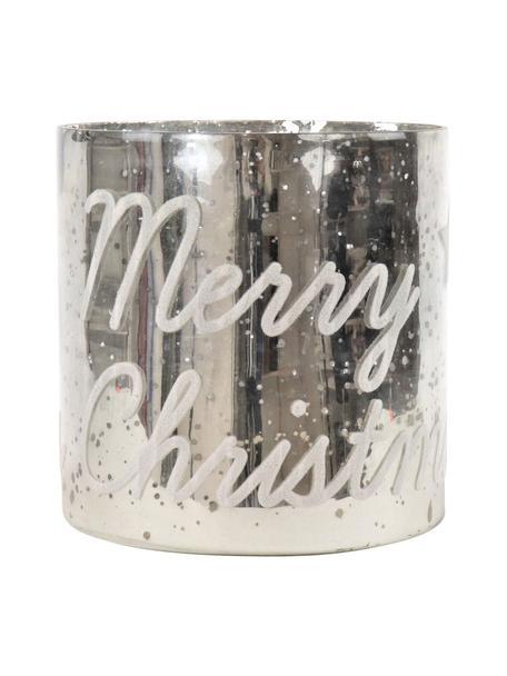 Windlicht Merry Christmas, Glas, Silberfarben, Ø 20 x H 20 cm