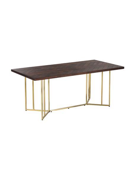 Mesa de comedor Luca, tablero de madera maciza, Tablero: madera de mango maciza pi, Estructura: metal recubierto, Madera oscura, dorado, An 180 x F 90 cm