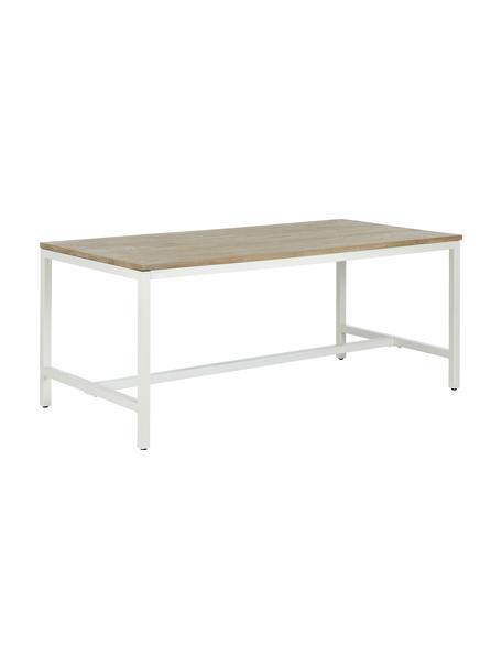 Esstisch Raw mit Massivholzplatte, Tischplatte: Massives Mangoholz, gebür, Gestell: Metall, pulverbeschichtet, Tischplatte: Mangoholz mit Kerben Gestell: Weiss, matt, B 180 x T 90 cm