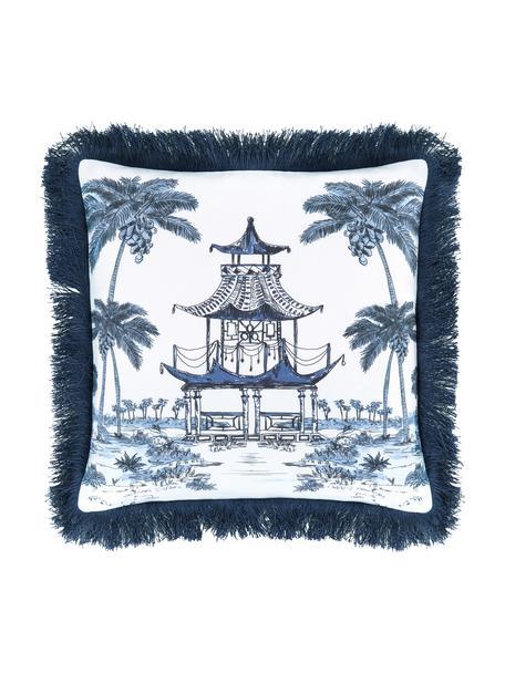 Kissenhülle Akira mit Motiv und Fransen in Blau/Weiß, 100% Baumwolle, Blau, 40 x 40 cm