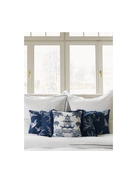 Federa arredo in cotone blu/bianco con motivo e frange Akira, 100% cotone, Blu, Larg. 40 x Lung. 40 cm