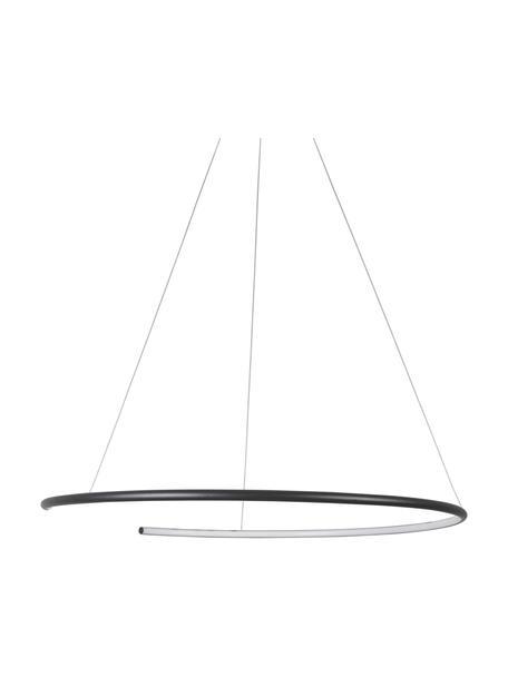 Grote LED hanglamp Breda in zwart, Lampenkap: aluminium, Diffuser: acryl, Baldakijn: aluminium, Zwart, Ø 70 x H 200 cm