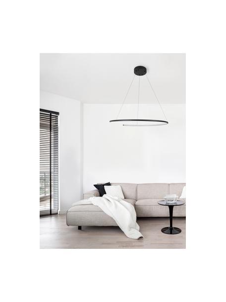 Lámpara de techo grade LED Breda, Pantalla: aluminio, Anclaje: aluminio, Cable: plástico, Negro, Ø 70 x Al 200 cm