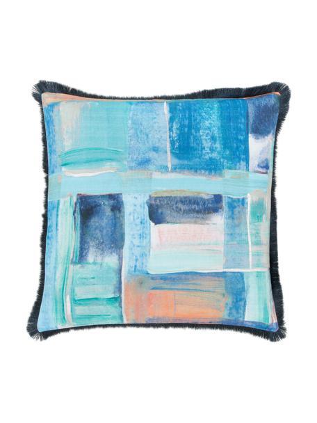 Kissenhülle Colori im Aquarell-Look mit Fransen, Bezug: 100% Baumwolle, Fransen: 100% Polyester, Mehrfarbig, 50 x 50 cm