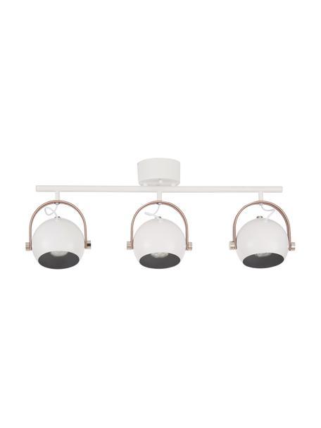 Scandi plafondspot Bow, Baldakijn: gelakt metaal, Decoratie: kunstleer, Wit, 76 x 32 cm