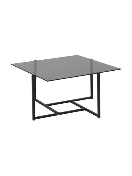 Tavolino da salotto con piano in vetro Hybrid, Piano d'appoggio: vetro temperato, Struttura: metallo rivestito, Grigio, nero, Larg. 80 x Prof. 80 cm
