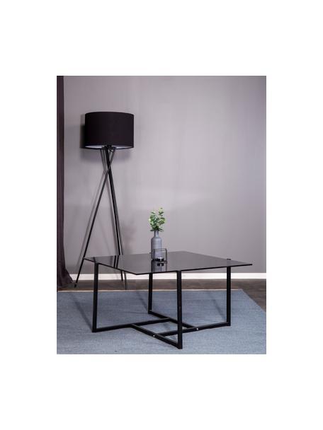 Metalen salontafel Hybrid met glazen tafelblad, Tafelblad: hard glas, Frame: gecoat metaal, Grijs, zwart, 80 x 80 cm
