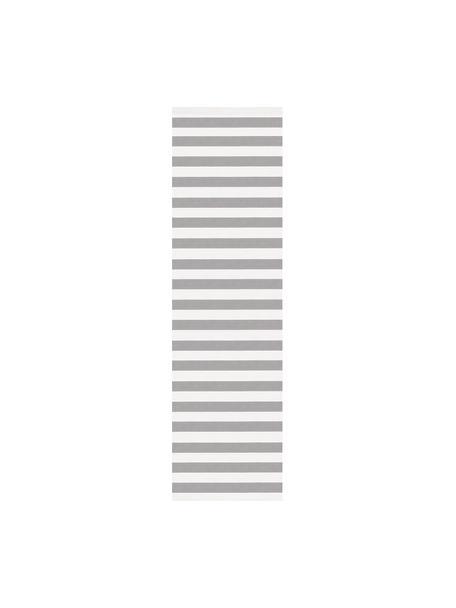 Gestreifter Baumwollläufer Blocker, handgewebt, 100% Baumwolle, Cremeweiß/Hellgrau, 70 x 250 cm