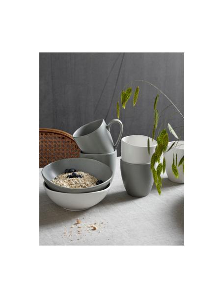 Steingut-Becher Refine matt Weiß in organischer Form, 4 Stück, Steingut, Gebrochenes Weiß, Ø 9 x H 9 cm