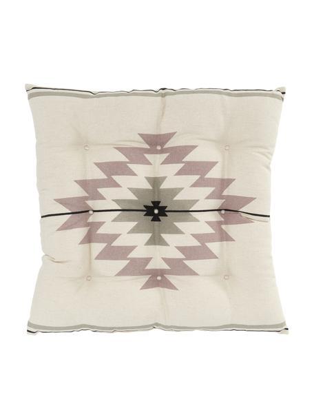 Cuscino sedia etnico Luca, Rivestimento: 100% cotone, Rosa, beige, bianco, Larg. 40 x Lung. 40 cm
