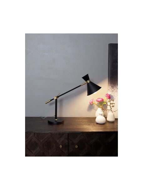 Grote tafellamp Audrey met goudkleurig-decoratie, Lampenkap: gepoedercoat metaal, Decoratie: vermessingd metaal, Lampvoet: gepoedercoat metaal, Mat zwart, Ø 15 x H 68 cm