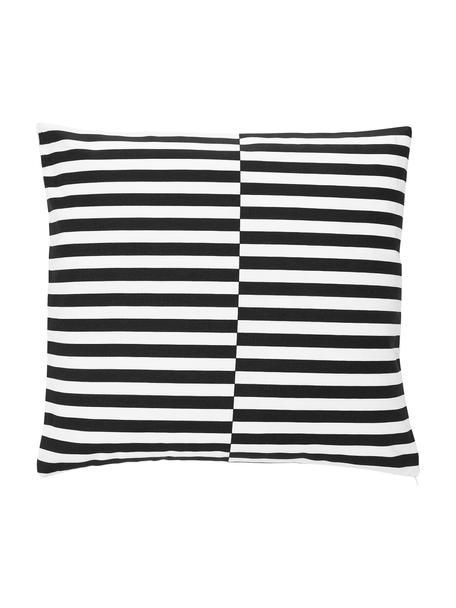 Kussenhoes Ivo in zwart/wit met grafisch patroon, 100% katoen, Wit, zwart, 45 x 45 cm