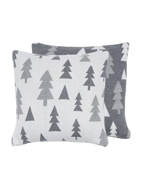 Dwustronna poszewka na poduszkę z dzianiny Joss, Bawełna, Szary, kremowobiały, S 40 x D 40 cm