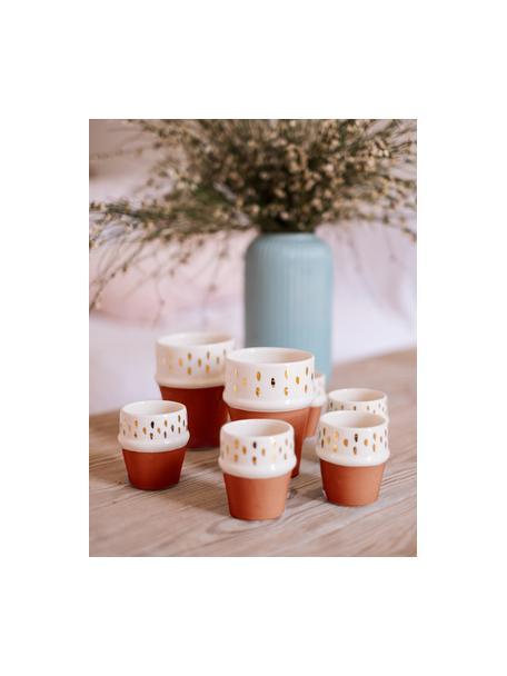 Tazza fatta a mano stile marocchino con dettagli dorati Beldi, Ceramica, Terracotta, crema, oro, Ø 8 x Alt. 11 cm