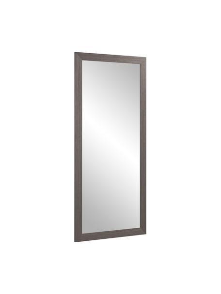 Eckiger Wandspiegel Yvaine mit braunem Holzrahmen, Rahmen: Holz, Spiegelfläche: Spiegelglas, Braun , 81 x 181 cm
