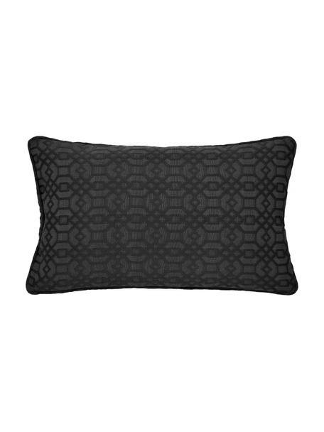 Kussenhoes Feliz in zwart, 60% katoen, 40% polyester, Antraciet, 30 x 50 cm