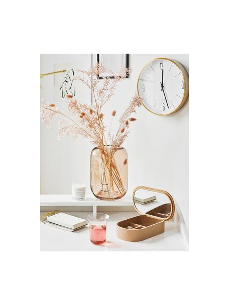 Vaso di design in vetro Face, Vetro, Marrone trasparente, Ø 18 x Alt. 25 cm