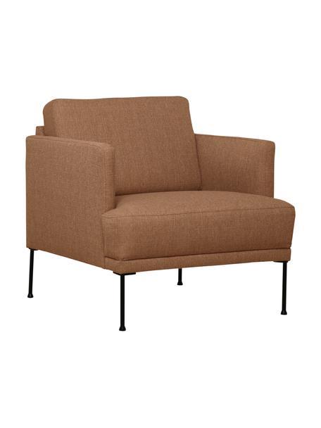 Sessel Fluente in Nougat mit Metall-Füssen, Bezug: 100% Polyester 35.000 Sch, Gestell: Massives Kiefernholz, Webstoff Nougat, B 74 x T 85 cm