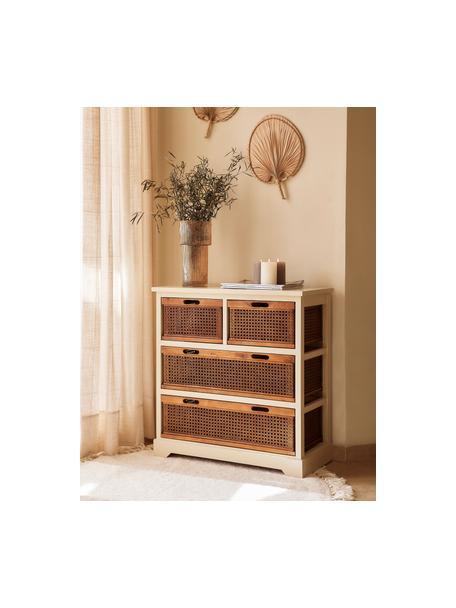 Cómoda cajonera de ratán Bantu, Estructura: madera de pino, pintado b, Blanco crema, marrón, An 74 x Al 77 cm