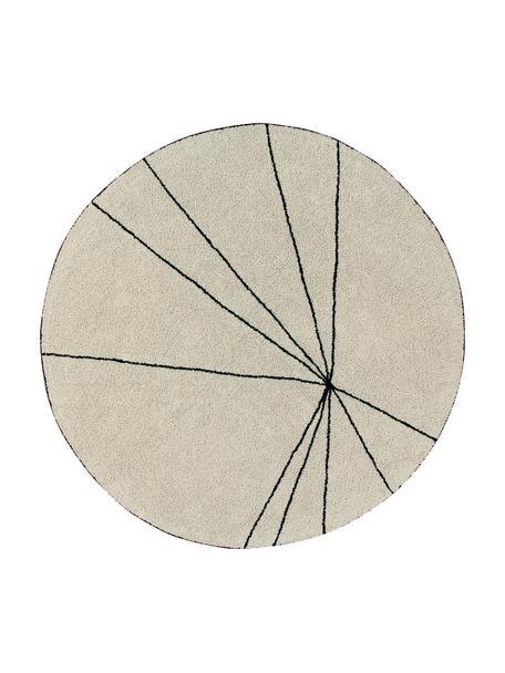 Runder Baumwollteppich Trace, waschbar, Flor: 90% Baumwolle, 10% recyce, Beige, Schwarz, Ø 160 cm (Größe L)