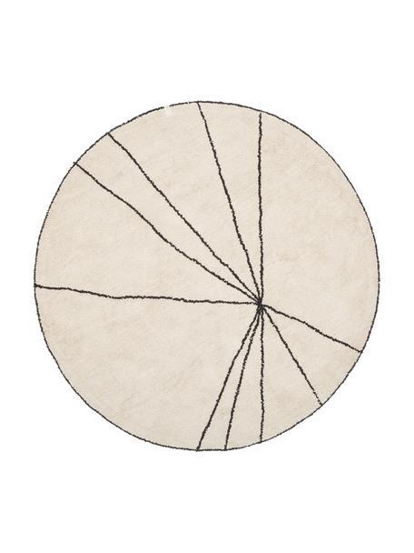 Runder Baumwollteppich Trace, waschbar, Recycelte Baumwolle (80% Baumwolle, 20% andere Fasern), Beige, Schwarz, Ø 160 cm (Größe L)