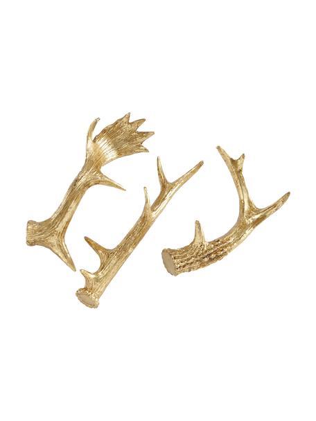 Deko-Geweih-Set Deer, 3 Stück, Kunstharz, Goldfarben, Sondergrößen