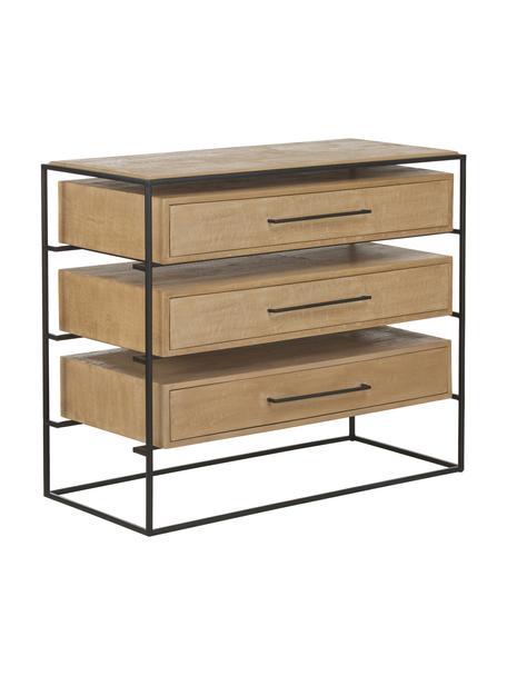 Szafka z szufladami z litego drewna mangowego Lyle, Korpus: lite drewno mangowe, laki, Jasny brązowy, czarny, S 100 x W 82 cm