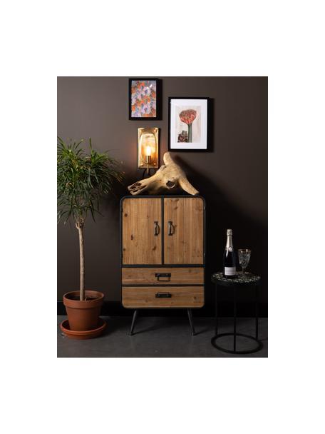 Wandlamp Brody met stekker, Lamp: vermessingd metaal, Messingkleurig, 16 x 38 cm