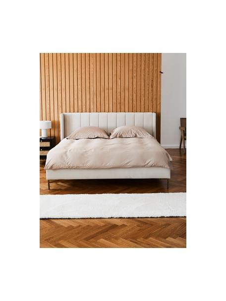 Gestoffeerd fluwelen bed Dusk in beige, Frame: massief grenenhout en pla, Bekleding: polyester fluweel, Poten: gepoedercoat metaal, Fluweel beige, 140 x 200 cm