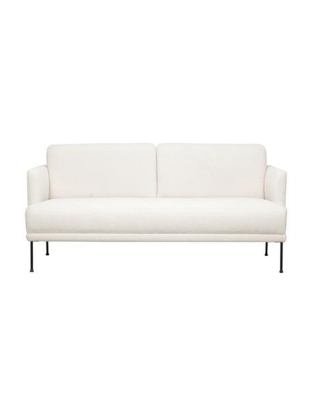 Sofa Teddy z metalowymi nogami Fluente (2-osobowa), Tapicerka: 100% poliester (Teddy) Dz, Nogi: metal malowany proszkowo, Kremowobiały teddy, S 166 x G 85 cm