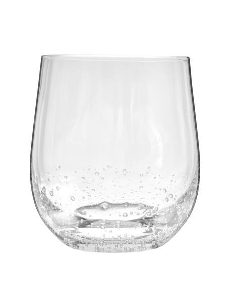 Vasos de vidrio soplado artesanalmente con burbujas Bubble, 4uds., Vidrio soplado artesanalmente, Transparente con burbujas de aire, Ø 9 x Al 10 cm