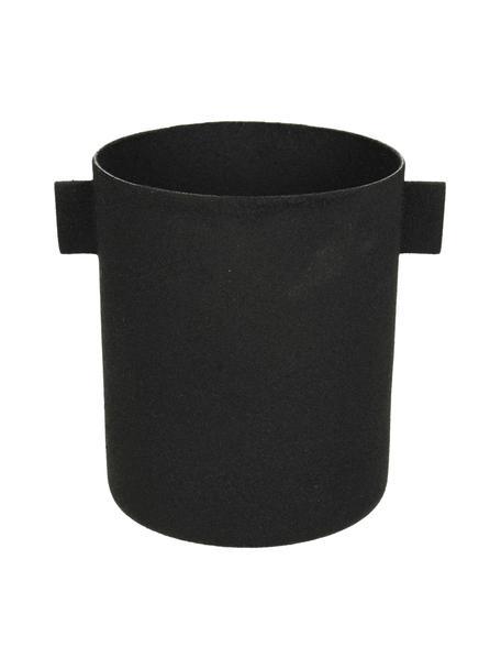 Übertopf Onyx, Metall, beschichtet, Schwarz, B 12 x H 10 cm