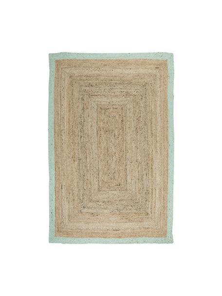 Handgefertigter Jute-Teppich Shanta mit taubenblauem Rand, 100% Jute, Beige, Taubenblau, B 200 x L 300 cm (Größe L)