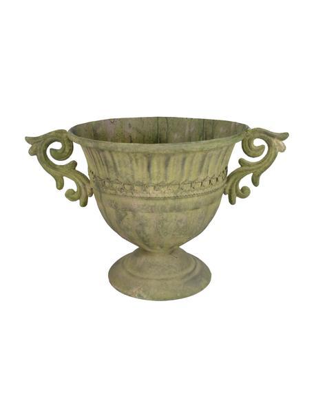 Grote plantenpot Valina, Gecoat staal, Groen, beige, 36 x 22 cm